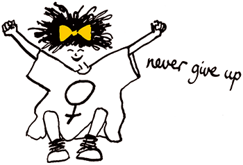 "Illustration av tjej med gul roasett i håret, och som hoppar, med orden ""never give up"" bredvid henne."